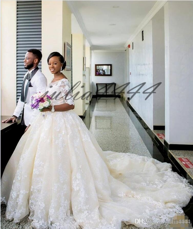Lace Dresses for Wedding Beautiful White Lace Wedding Dresses Ball Gown Jewel Neck 1 2 Long Sleeves Applique Lace Dresses Simple Temperament Ball Gown Wedding Gowns