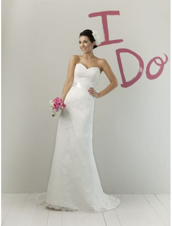Lace Sweetheart Wedding Dresses Beautiful Lace Sweetheart Strapless Neckline Sheath Wedding Dress with