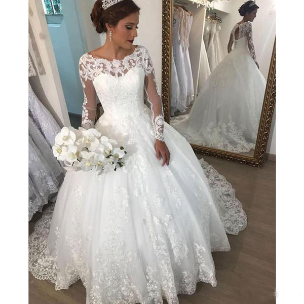 Lace Up Back Wedding Dresses Beautiful Elegant Scoop Neck Long Sleeve Ball Gown Wedding Dress Open Back Lace Up Robe De Mariee with Lace Appliques Bridal Gowns Retro Wedding Dresses Sparkly