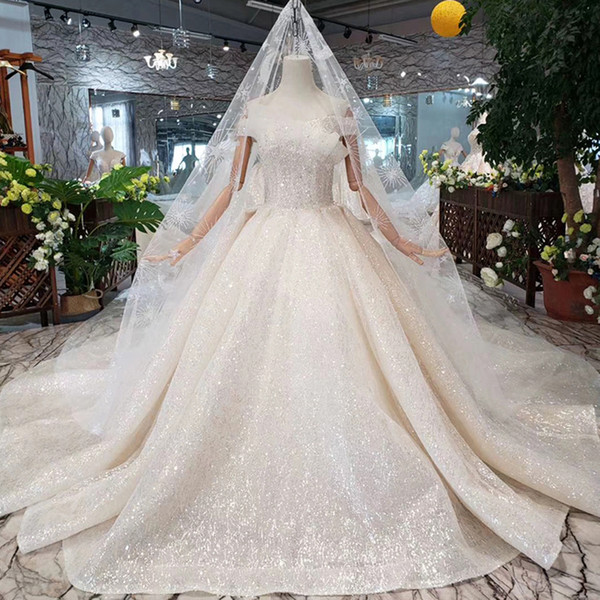 Lace Up Back Wedding Dresses Unique 2019 Bohemian Long Lace Veil Wedding Dresses Lace Up Back Short Sleeve Shell Chest Shining Crystal Pattern Applique Garden Bridal Gowns Ball Gown