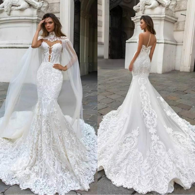 2019 vintage mermaid lace wedding dresses