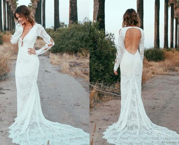 Lace Wedding Dresses Under 500 Fresh Discount New Romantic Bohemian Wedding Dresses 2019 Y Deep V Neck Open Back Long Sleeves Full Lace Wedding Dress Summer Beach Bridal Gowns Wedding