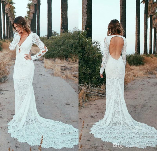 Lace Wedding Dresses Under 500 Luxury Discount New Romantic Bohemian Wedding Dresses 2019 Y Deep V Neck Open Back Long Sleeves Full Lace Wedding Dress Summer Beach Bridal Gowns Wedding
