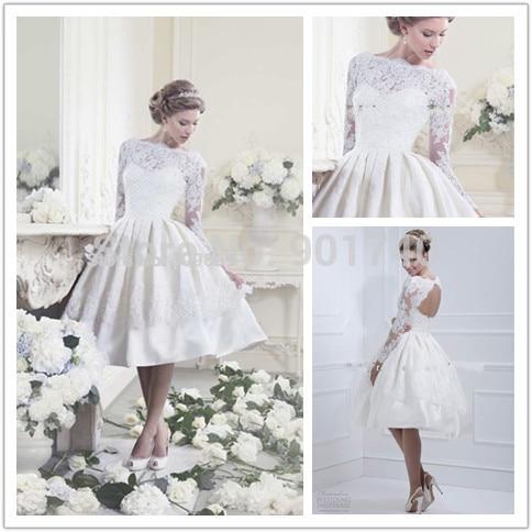 short wedding dress open back long sleeve bridal dresses knee length short dress for wedding