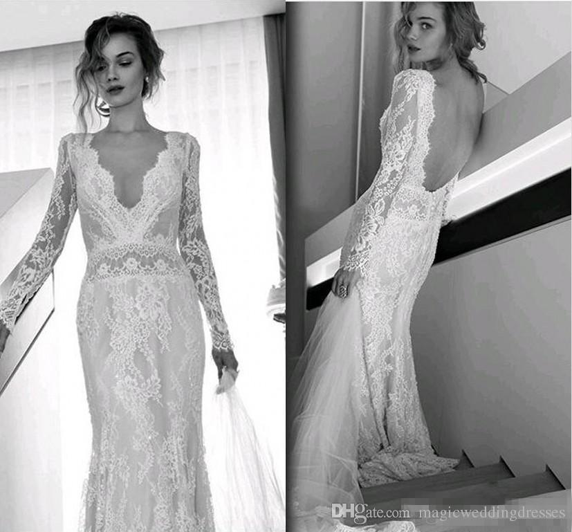 Lace Wedding Dresses with Sleeves and Open Back Unique Lihi Hod Bohemian Beach Wedding Dresses Full Lace Long Sleeves Y V Neck Sweep Train Bridal Gowns Custom Made Open Back 2017 Hot Sale