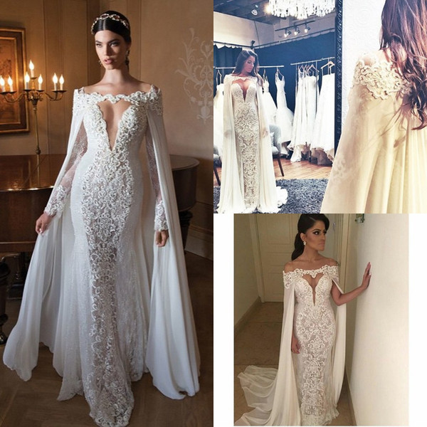 Lace Wrap for Wedding Dress Awesome 2016 Berta Lace Wedding Dresses with Wrap F Shoulder Long Sleeves Chiffon Y Long Bridal Gowns Floor Length Custom Made Cowl Backs Lace Mermaid
