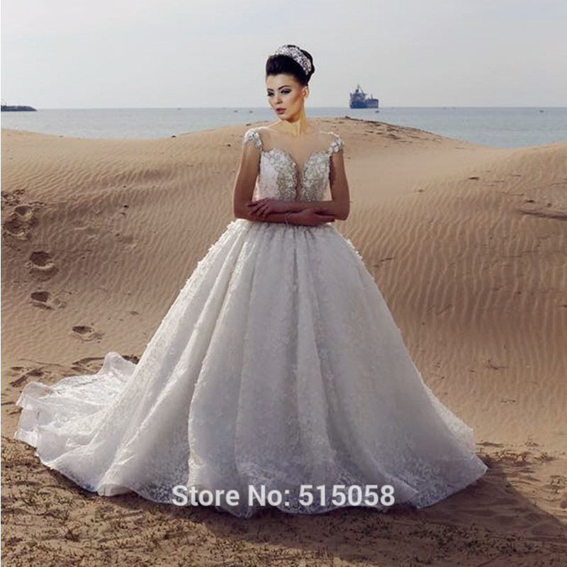 Vintage Sheer Cap Sleeves Lace Princess Wedding Gowns 2016 font b Lebanon b font font b