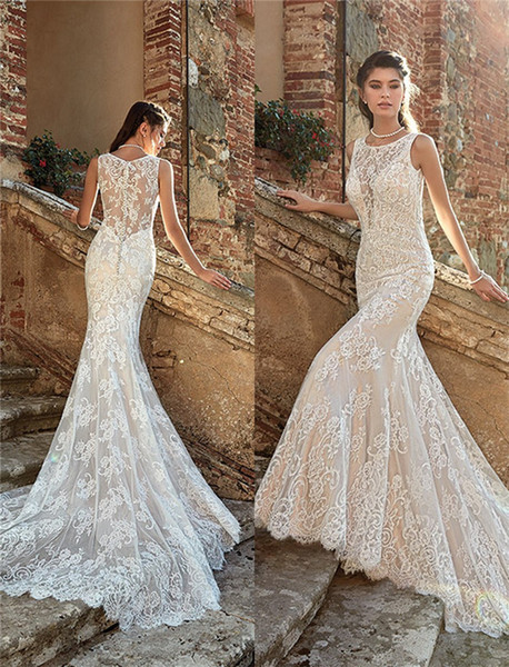 Long Dresses for Beach Wedding Awesome 2019 Summer Mermaid Wedding Dresses Backless Full Lace Court Train Beach Bridal Gowns formal Dresses for Bohemian Wedding Gowns Custom Made Dresses
