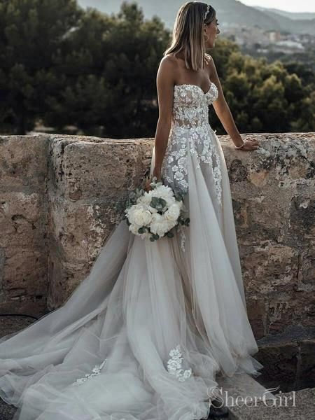 Long Dresses for Beach Wedding Awesome Sweetheart Neck Lace Rustic Wedding Dresses Long Tulle Beach