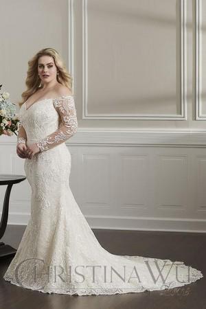 christina wu long sleeve plus size wedding gown 01 543