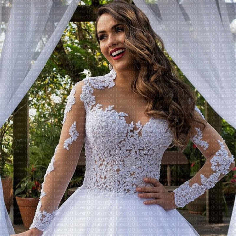 2019 New y Illusion Vestido De Noiva Long Sleeves Lace Wedding Dress Applique Plus Size Wedding q50