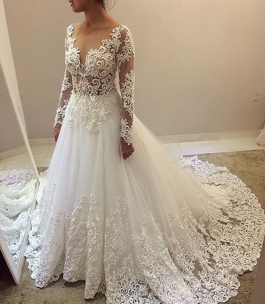 Long Sleeve Beaded Wedding Dress Awesome Elegant Beading Lace Long Sleeve Ball Gown Wedding Dresses