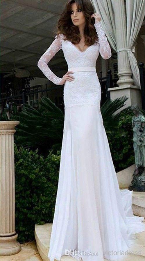 Long Sleeve Beaded Wedding Dress Beautiful Long Sleeves V Neck Trumpet Mermaid Wedding Dresses top Lace