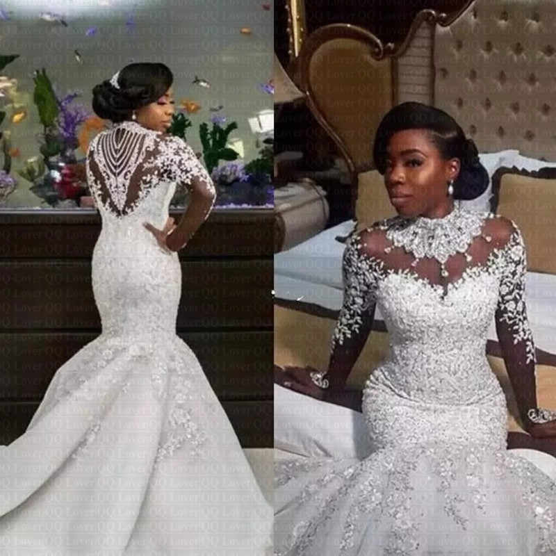 Long Sleeve Beaded Wedding Dress Lovely 2019 Luxury Gorgeous Neck Wedding Dresses African Nigerian