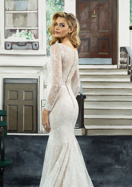 Long Sleeve Beaded Wedding Dress Lovely Style 8959 Beaded Chantilly Lace Long Sleeve V Neck Gown