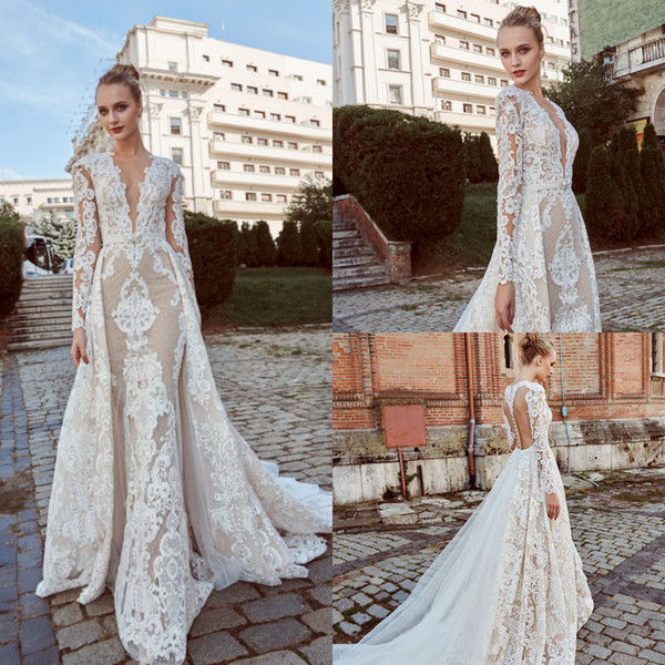 Long Sleeve Beaded Wedding Dress Luxury Miriams Bride 2019 Mermaid Wedding Dresses with Detachable Skirts V Neck Lace Beads Long Sleeve Plus Szie Bridal Gowns Robe De Mariée Black and White