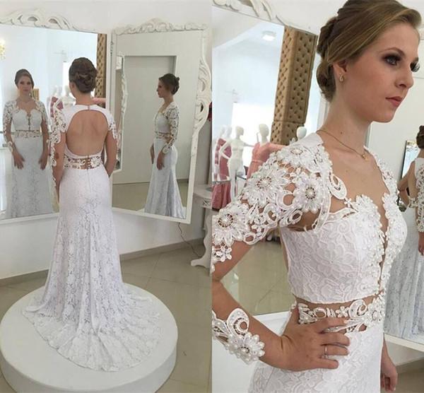 Long Sleeve Beaded Wedding Dress Unique Elegant Mermaid White Full Lace Wedding Dresses 2016 Y Open Back Sheer Long Sleeves Lace Beaded Bridal Gowns Custom Made 2017 New Wedding Dresses