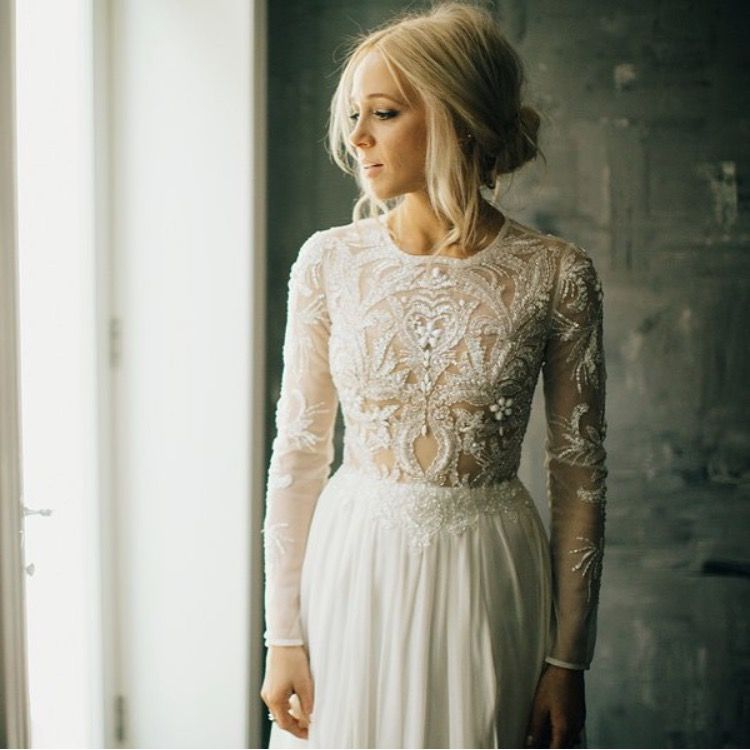 Long Sleeve Beaded Wedding Dress Unique Long Sleeved Wedding Gown with Beaded Designs
