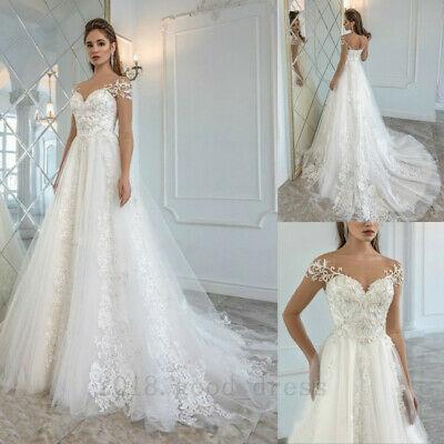 Long Sleeve Beaded Wedding Dress Unique Vintage Lace Beaded Wedding Dresses Cap Sleeves Long Train Custom Bridal Gown