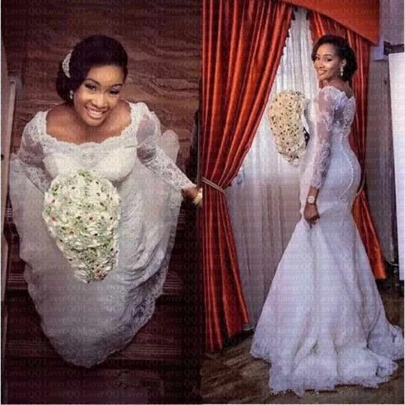 2019 African Lace Wedding Dresses Applique Long Sleeves Sweep Train Bridal Gowns q50