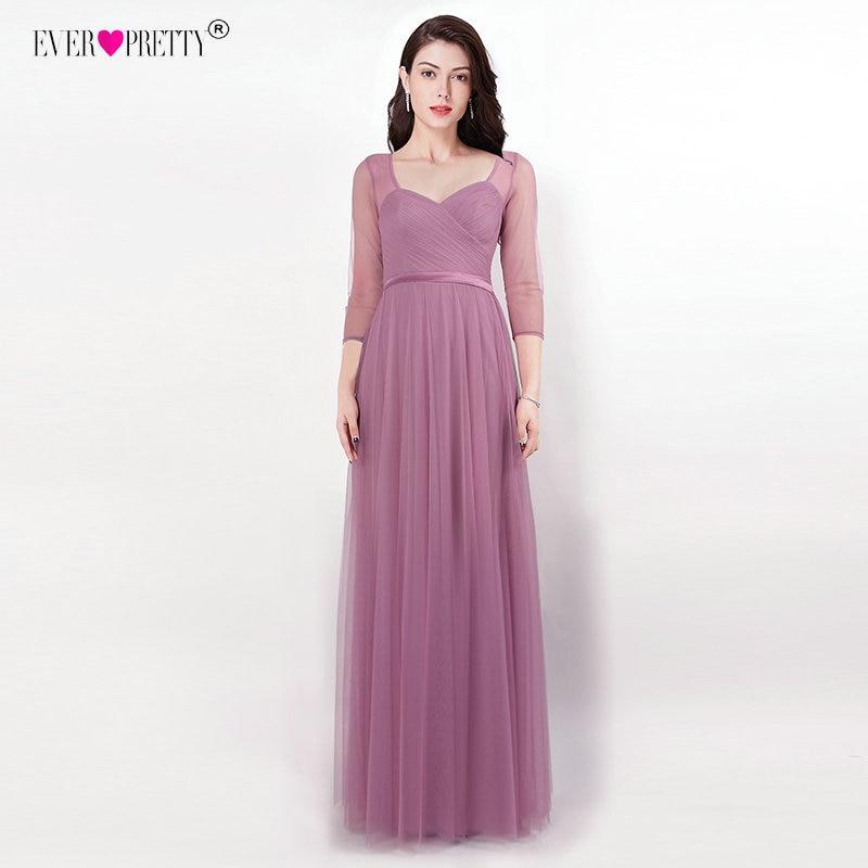 Ever Pretty Bridesmaid Dresses Sweetheart 3 4 Sleeve Vestido Longo EZ OD Open Back Vestido Madrinha Long