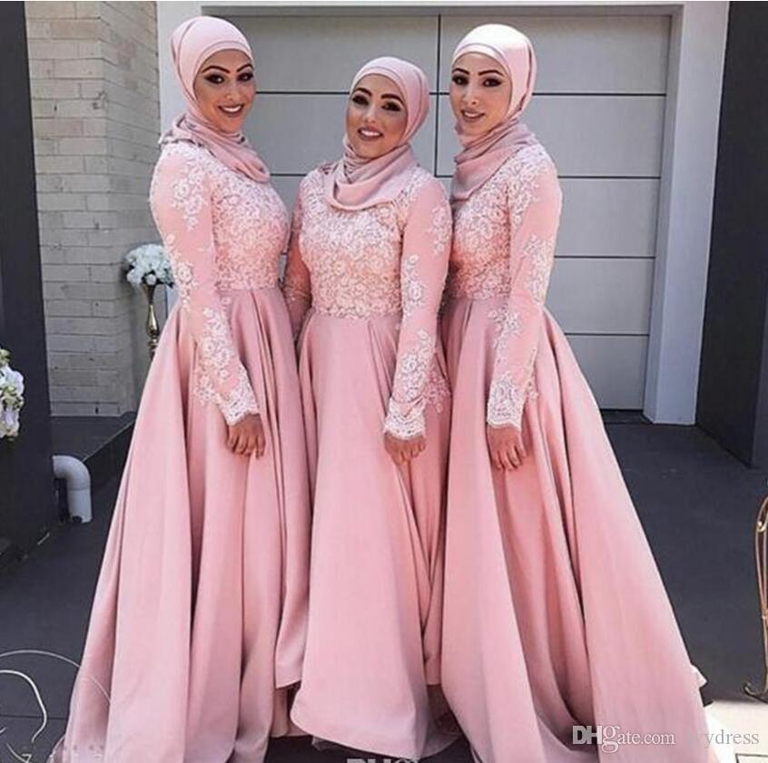 long sleeve bridesmaid dresses muslim elegant