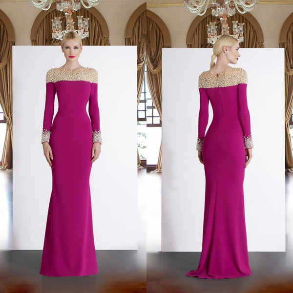 Long Sleeve Dresses for Wedding Guest Luxury Fuchsia Long Sleeve Mother the Bride Dresses 2019 Beads Mermaid Wedding Guest Dress Pearls Satin Cheap evening Gowns Green Mother the Bride