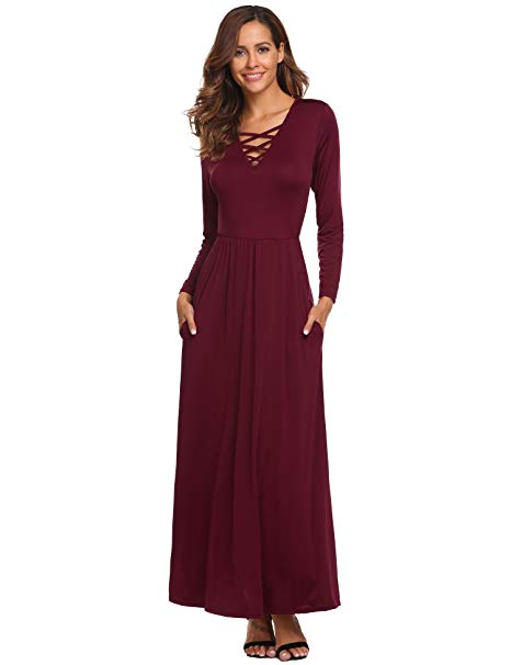 formal gowns for wedding guests beautiful od lover women s casual long sleeve criss cross v neck ruffle maxi