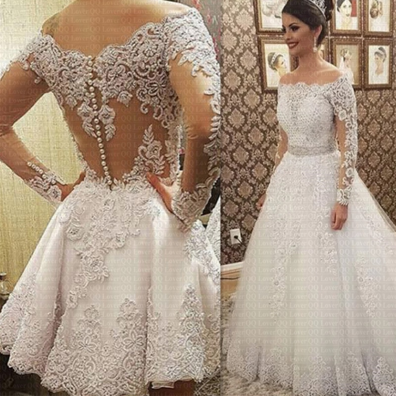 2019 Vestido De Noiva Boat Neck Long Sleeves 2 in 1 Wedding Dress Heavy Pearls Luxury