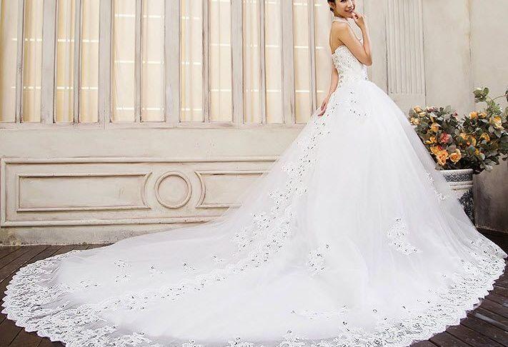 Long Tailed Wedding Dresses Luxury the New Bride Wedding Dress Bra Big Yards Long Tail Was Thin