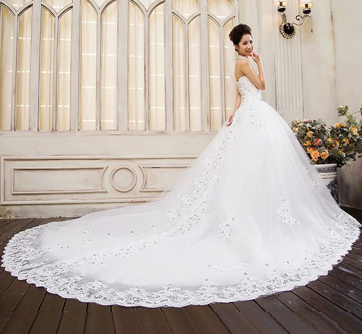 Long Tailed Wedding Dresses Luxury the New Bride Wedding Dress Bra Big Yards Long Tail Was Thin