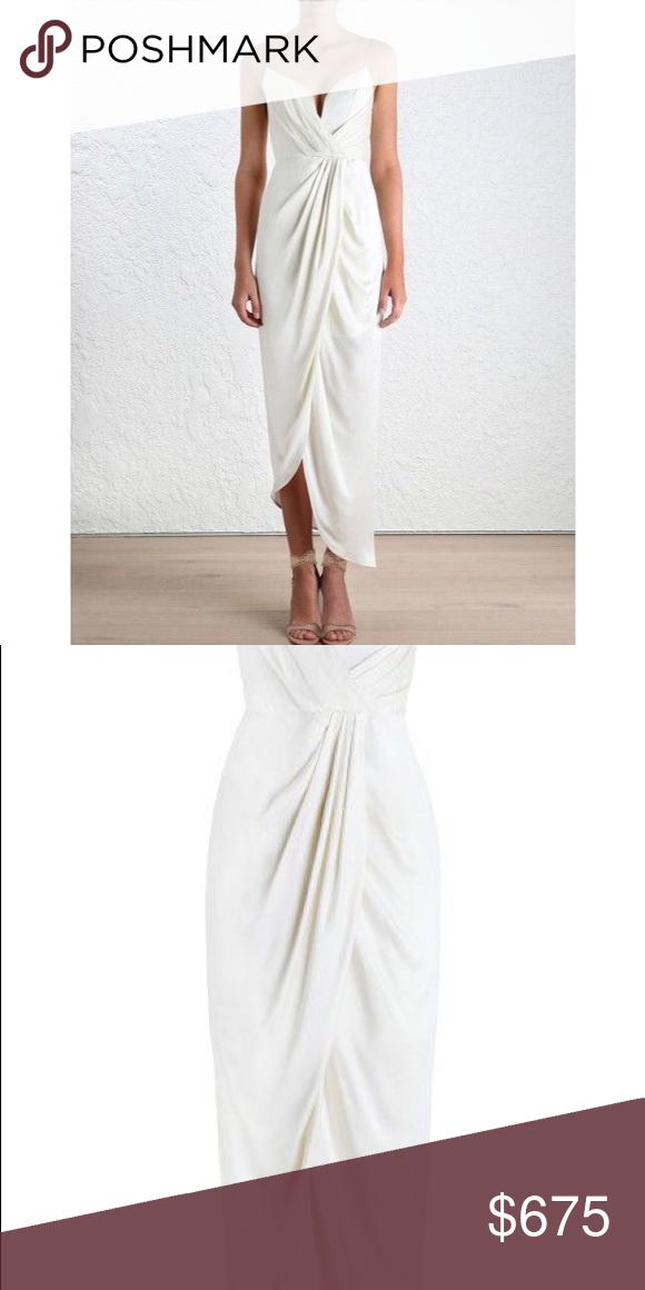 Long White Silk Dress Elegant Nwt Zimmermann White Silk Long Plunge Dress Sz 4 6