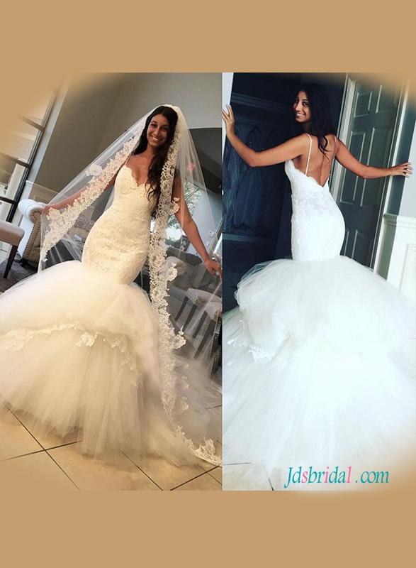 H1224 y spaghetti straps low back mermaid wedding dress with bubble bottom