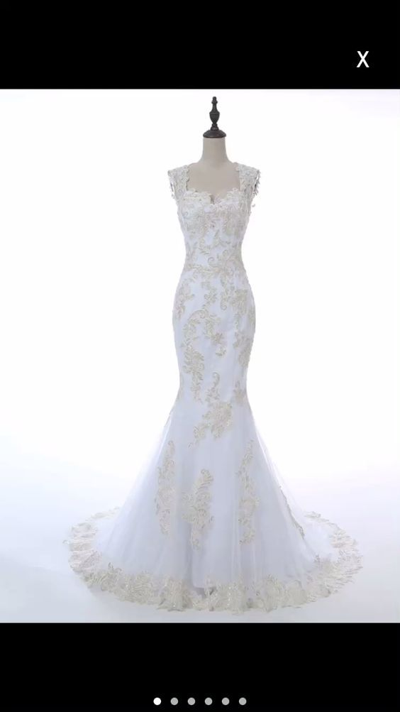 Luulla Wedding Dresses Lovely Lace Appliques Sweetheart Cap Sleeves Floor Length Tulle
