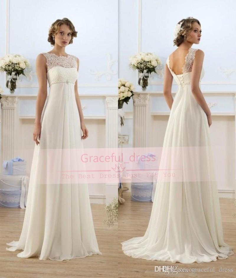 chiffon wedding dress empire waist discount 2017 modern chiffon a line empire high waist wedding fabulous