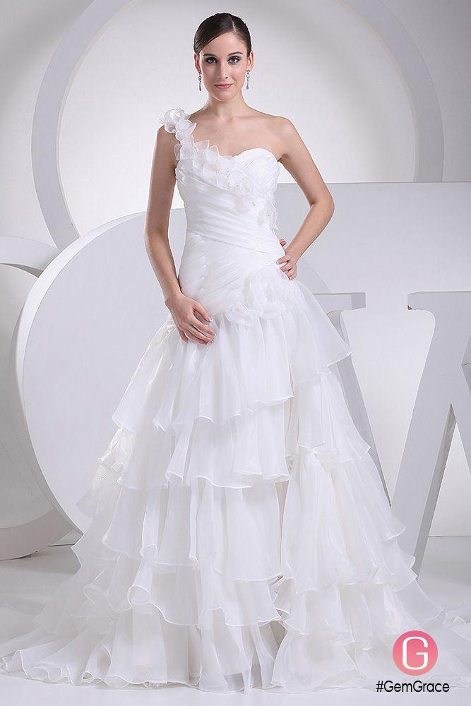wedding dress with ruffles organza cascading ruffles e floral shoulder wedding dress oph1075 graceful