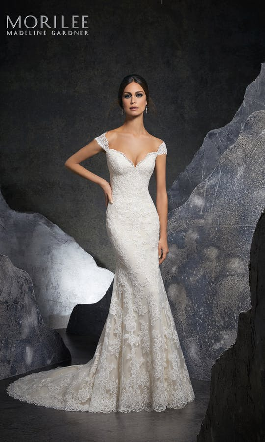morilee bridal gowns blu collection 2018 style 5616 kinley classic fit flare lace off shoulder wedding dress