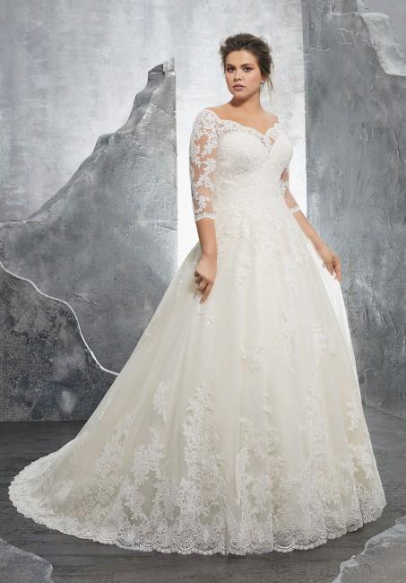 mori lee 3235 kosette portrait neckline plus size wedding gown 01 288