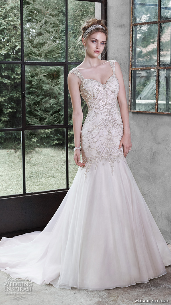 maggie sottero fall 2015 wedding dresses beautiful trumpet gown fit flare mermaid crystal beaded strap sweetheart neckline melissa