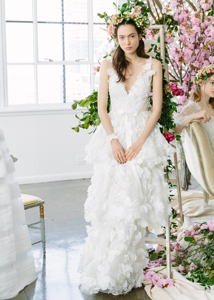 layered wedding gowns elegant wedding dresses s layered gown with v neckline by marchesa
