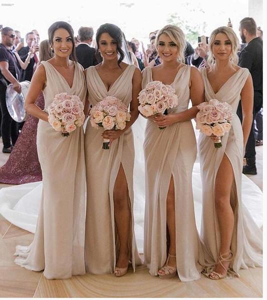 Marine Bridesmaid Dress Luxury Großhandel 2019 Chiffon A Line Günstige Bridemaids Kleider Für Hochzeit Plissee Jersey Hochzeit Partykleider Günstige Abendkleid Abend Party Kleider