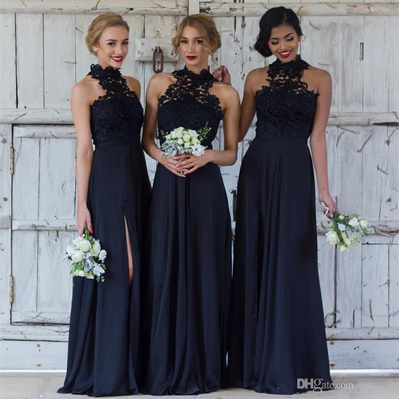 Marine Bridesmaid Dress Luxury Großhandel Elegante Spitze Marineblau Brautjungfer Kleider