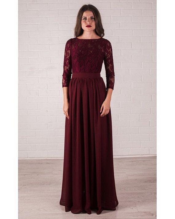 Maroon Dresses for Wedding Unique Burgundy Dress Elegant Lace evening Dress formal Long Von