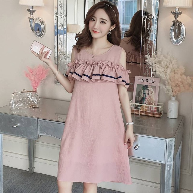 Korean pregnant women summer new women loose dress strapless loose breastfeeding maternity clothes Dresses odx0