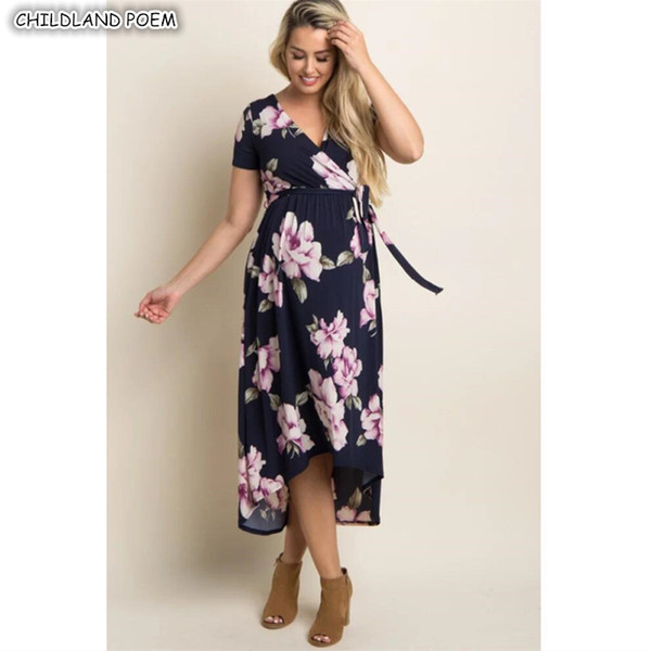 Maternity Dresses for Summer Wedding New 2019 Maternity Dresses Summer Maternity Clothes Floral Elegant V Neck Pregnancy Dress Cotton Women Nursing Breastfeeding Dress From askkit $25 31