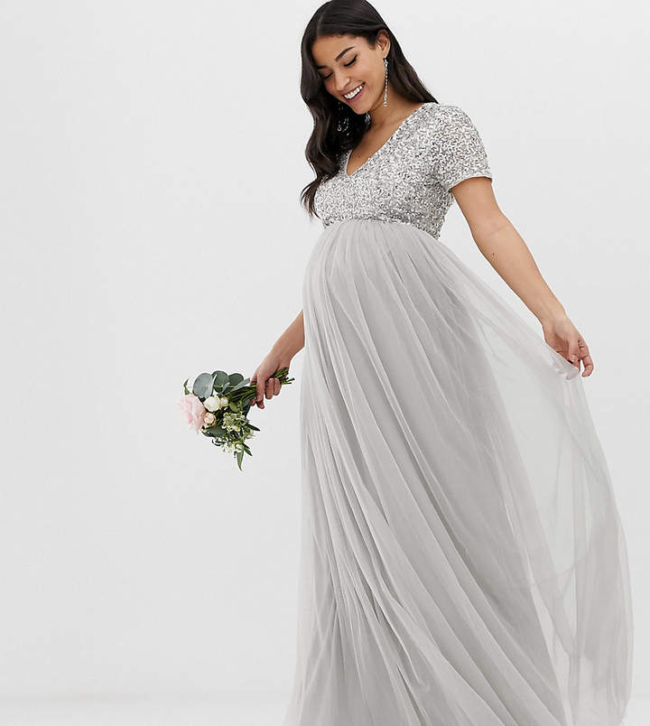 Maya Maternity Bridesmaid v neck maxi tulle dress with tonal delicate sequins in soft gray
