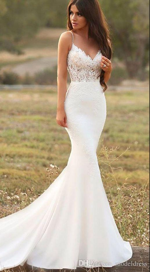 Mermaid Style Bridesmaid Dress Inspirational Y Mermaid White Wedding Dresses Spaghetti Straps Lace Satin Trumpet Garden Gowns Country Style Bridal Gowns Handmade Vestidos De Noiva Wedding