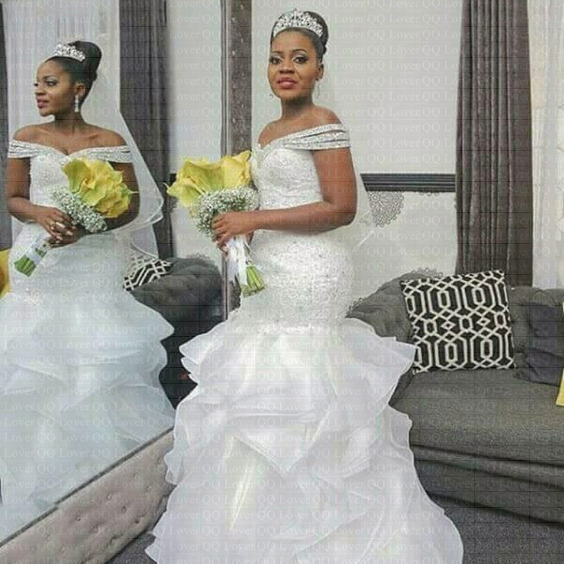 2019 New African Style Mermaid Wedding Dress f Shoulder Full Beading Bridal Wedding Gown