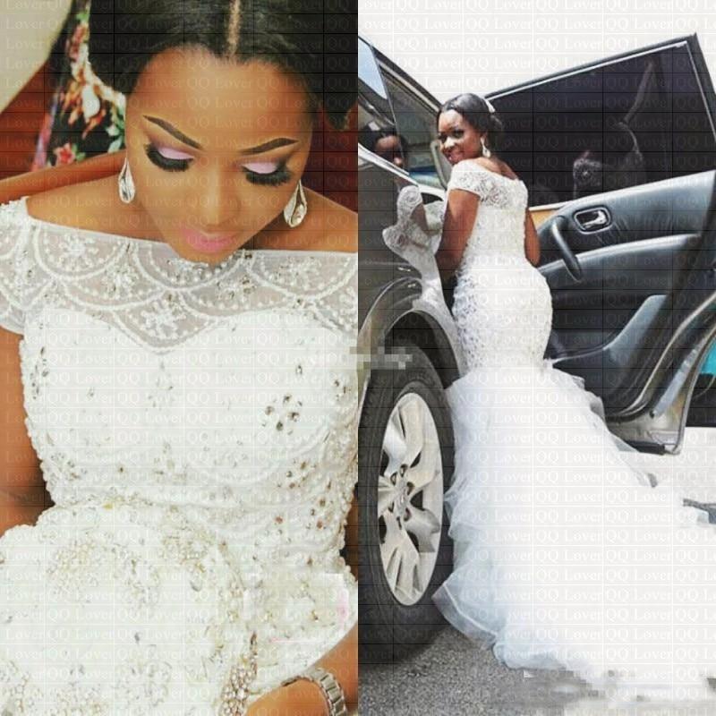 2019 New African Styles Mermaid Wedding Dress Elegant Beads f Shoulder Wedding Gowns Wedding Dresses