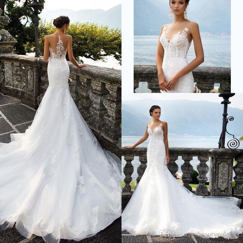 beach style jewel mermaid wedding dress 2017